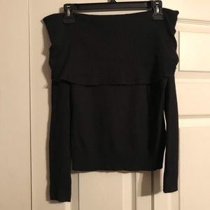 EXPRESS Small Silk Off shoulder Ribbed Sweater